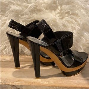 Like new wood and patent leather high heel shoes
